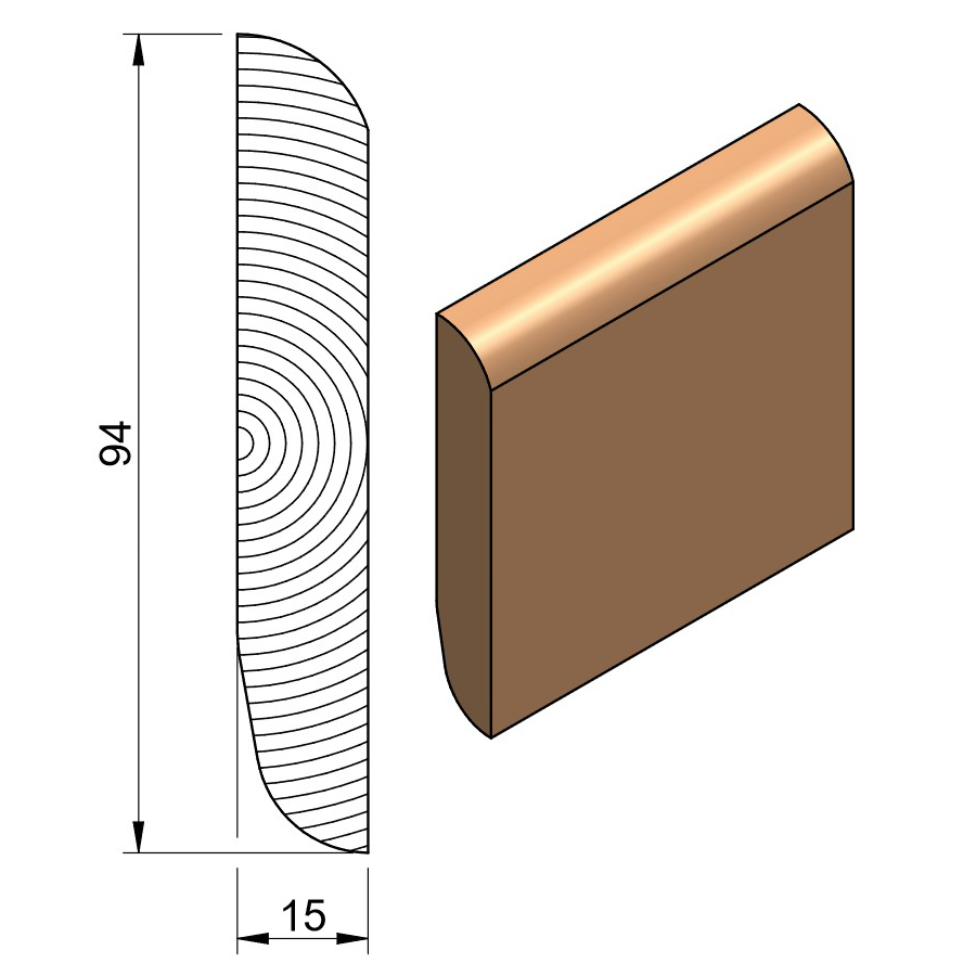 19 x 100 Softwood Bullnose / Chamfered & Rounded Skirting