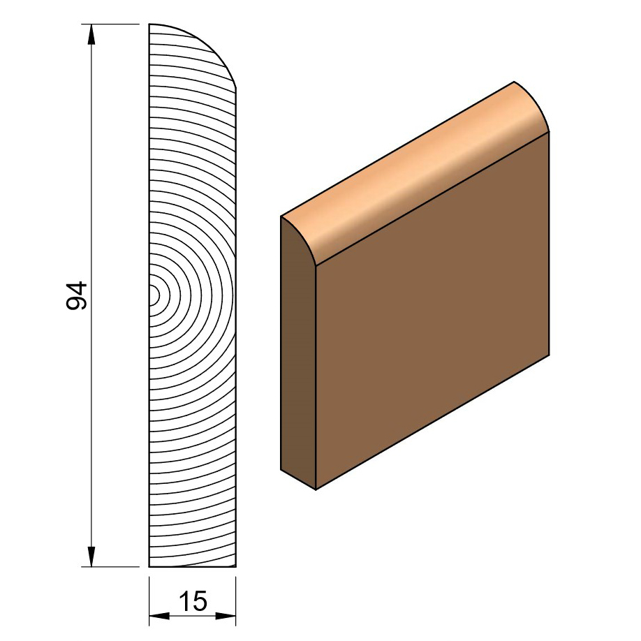 19 x 100 Softwood Bullnose (Only) Skirting