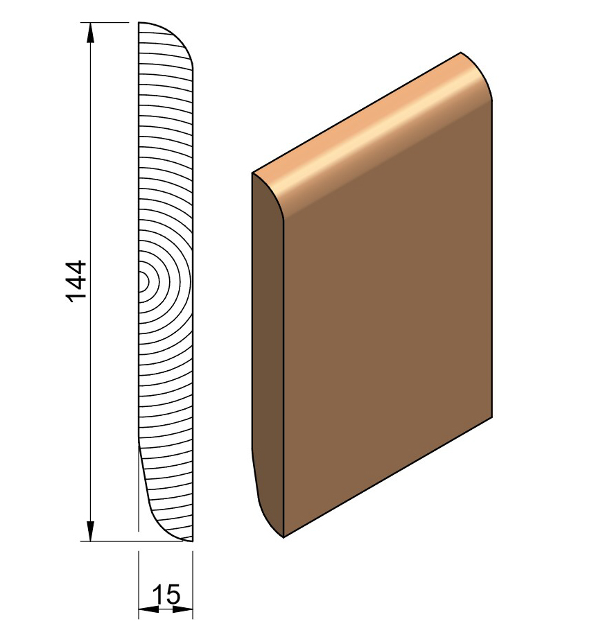 19 x 150 Softwood Bullnose / Chamfered & Rounded Skirting