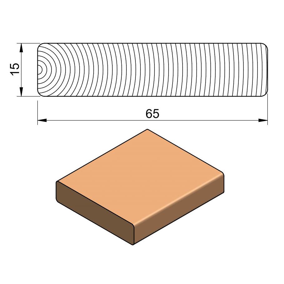 19 x 75 Dark Hardwood Bench Slat
