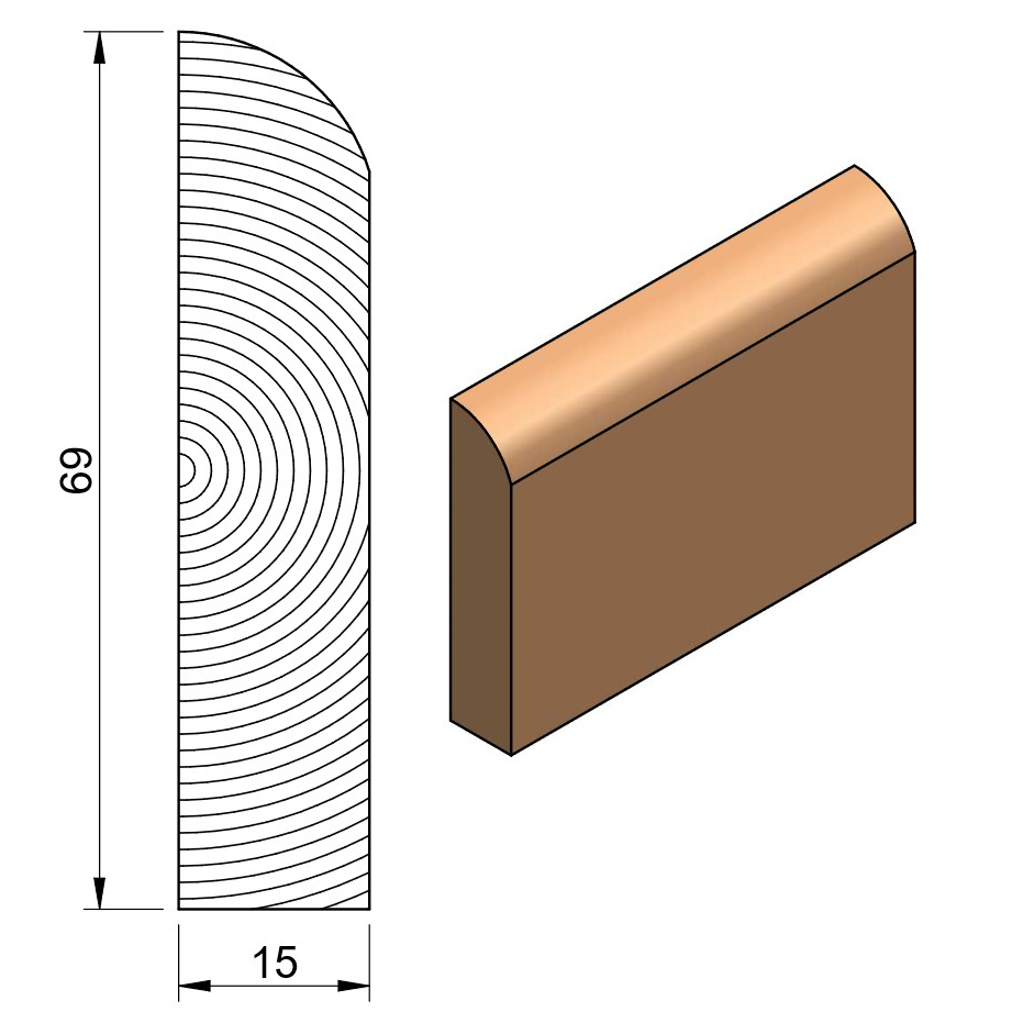 19 x 75 Softwood Bullnose Architrave