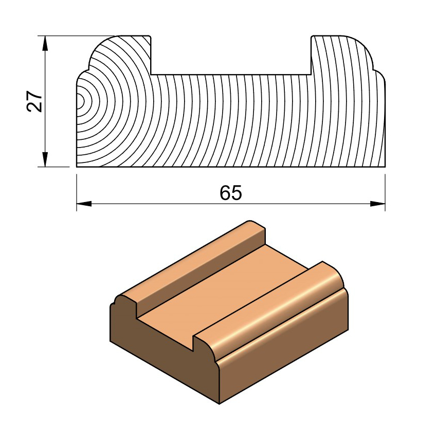 32 x 75 Baserail (Oak & Softwood)