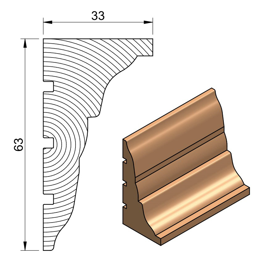38 x 75 Softwood Regal Cornice