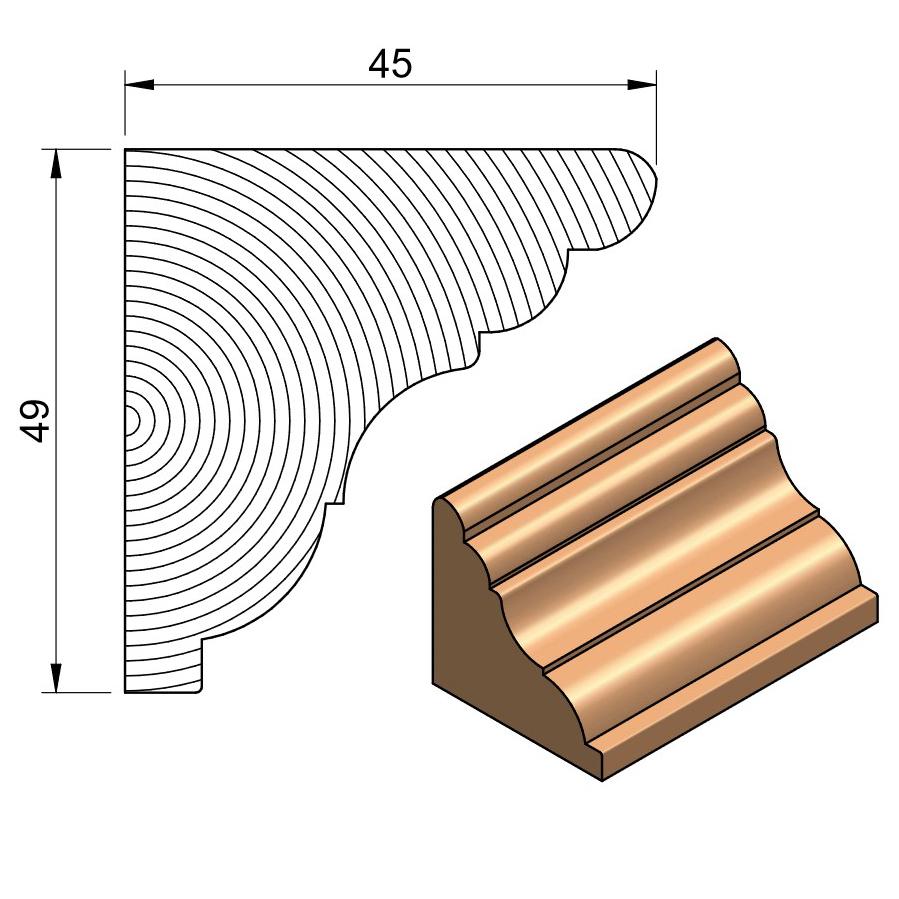 50 x 63 Softwood Royal Cornice
