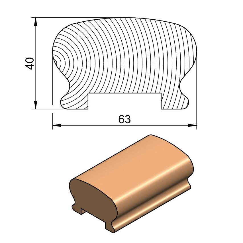 50 x 75 Slim Handrail (Oak & Softwood)